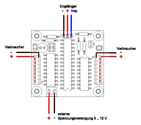 Anschlussbelegung des 16-Kanal Multiswitch-Decoders